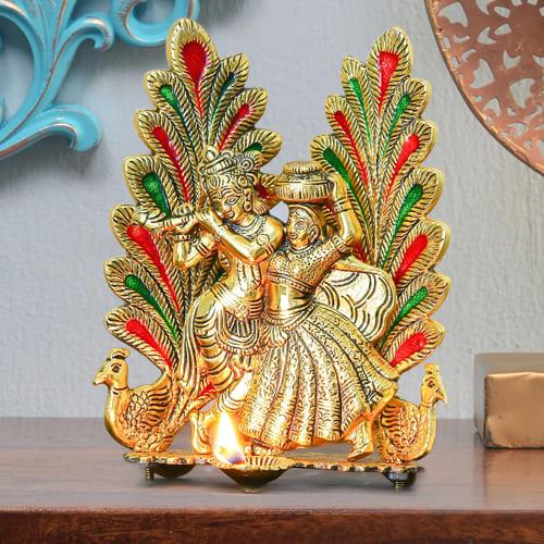 Decorative Peacock Design Radha Krishna Statue with Diya