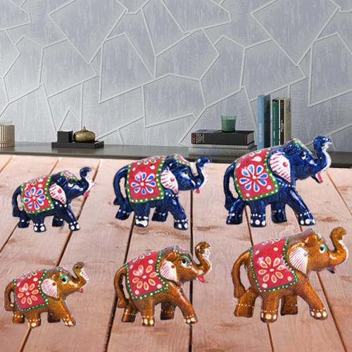 Splendid Set of 6 Handmade Elephant Figurine