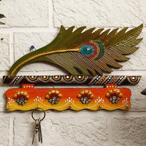 Beautiful Mor Pankhi Wooden Key Holder