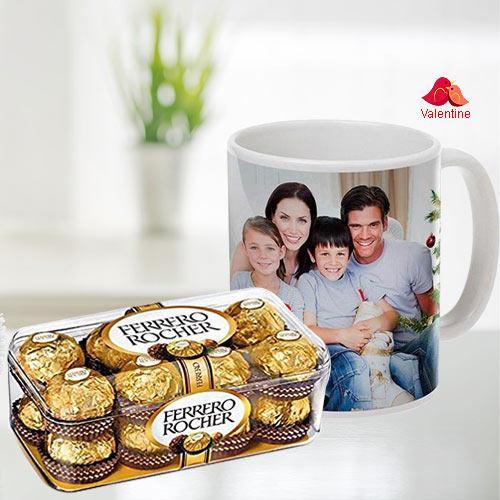 Stylish Personalized Coffee Mug with Ferrero Rocher Chocolates