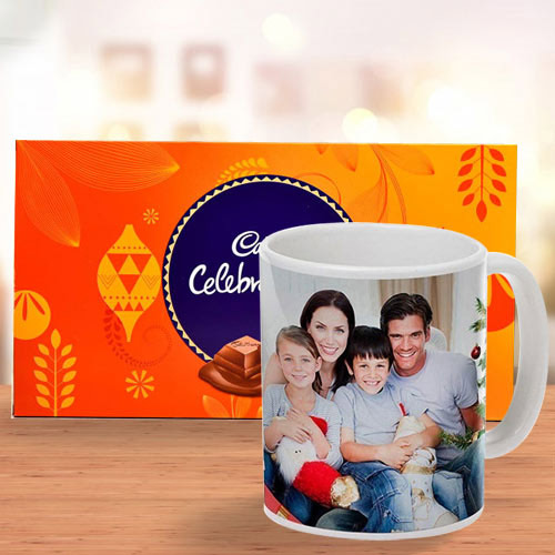 Eye Catching Personalized Coffee Mug with Cadbury Celebration Chocolate