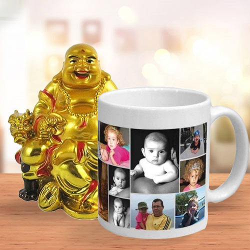 Elegant Personalized Coffee Mug with a Laughing Buddha