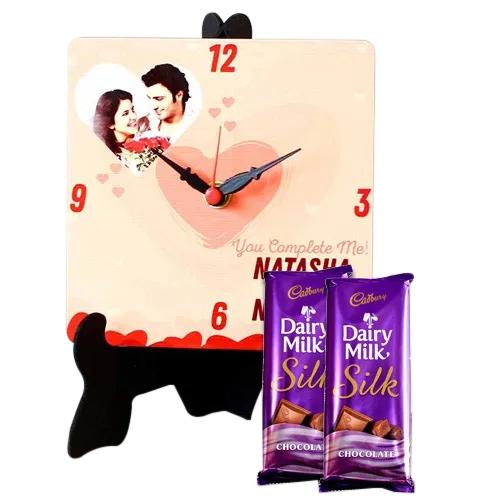 Stylish Personalized Photo Clock with Cadbury Dairy Milk Silk