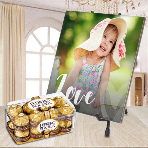 Beautiful Personalized Photo Tile with Ferrero Rocher Chocolate