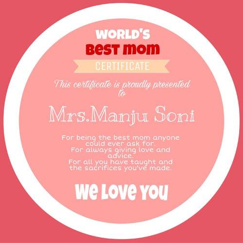 Wonderful Mother Certificate