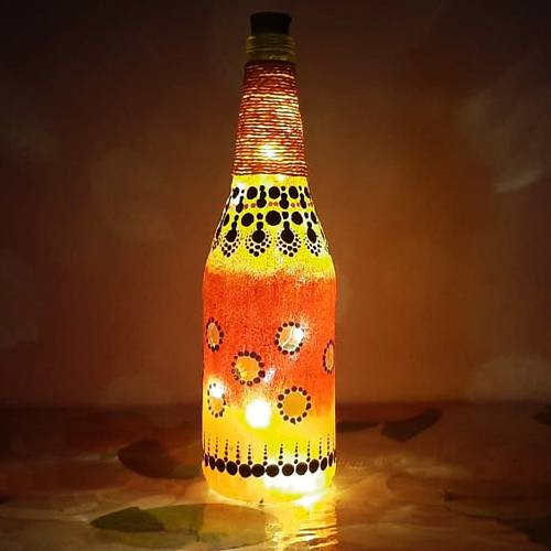 Designer Dot Mandala Art Bottle Lamp