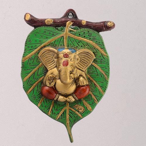 Auspicious Lord Ganesha on Leaf for Wall Decor