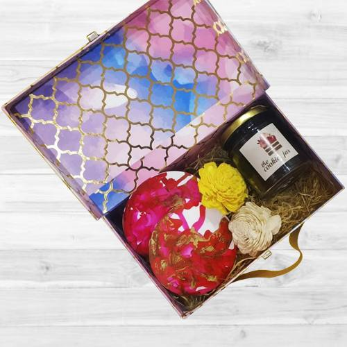 Remarkable Box of Coasters, Flowers N Chocolates Jar