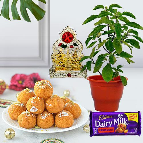 Festive Holy Tulsi Plant N Puja Gift Combo