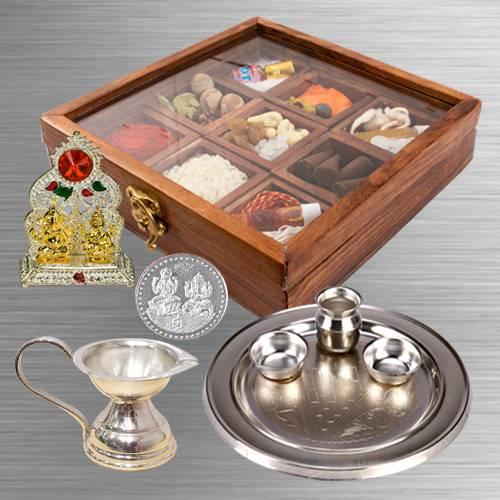 Remarkable Puja Hamper in Wooden Box