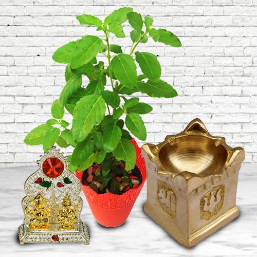 Marvelous Diya with Tulsi Plant N Ganesh Laxmi Mandap
