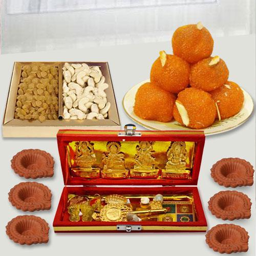 Special Dhan Laxmi Kuber Yantra with Dry Fruits n Chocolates, Free Diya