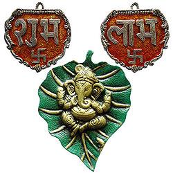 Designer Metallic Subh Labh with Ganesha Wall Hanging