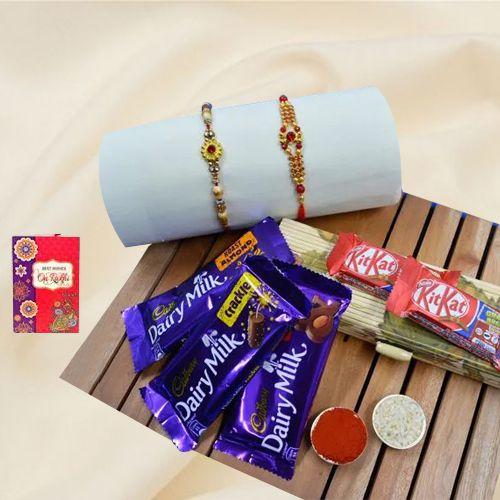 Suave Golden Rakhi Set with Chocolate Assortments