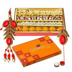 Fantastic Display of Assorted Sweets from Haldiram and Cadbury Celebration Chocolate Pack, Bhaiya Bhabhi Rakhi Set and Kids Rakhi with free Roli Tilak and Chawal for this Raksha Bandhan