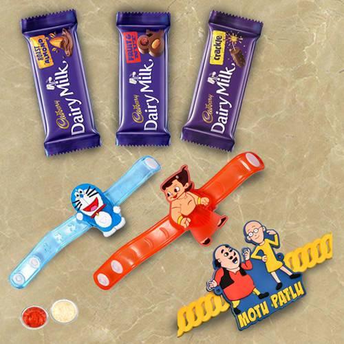 3 Cartoon Rakhi for Kids with 2 psc Cadbury Chocolates