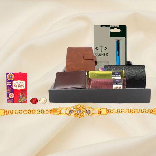 Exclusive Mens Gift Hamper with Golden Bracelet Rakhi