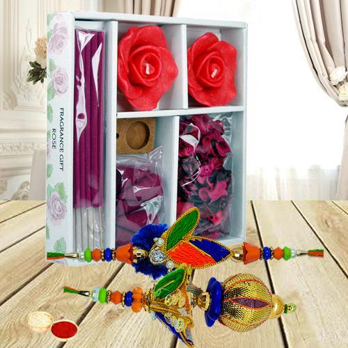 Iris Room Freshener with Bhaiya Bhabhi Rakhi Set