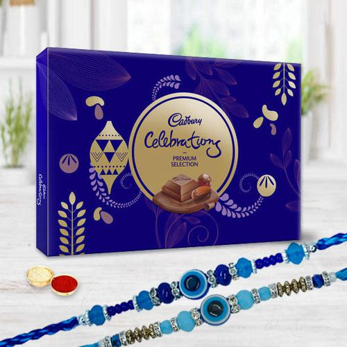 Cadburys Premium Selection Chocolates with Twin Evils Eye Rakhi