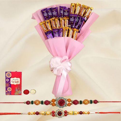 Gift a Cadbury Dairy Milk n Five Star Chocolate Bouquet of 25pcs with 2 Rakhi