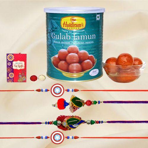 Send Haldirams Gulab Jamum with Rakhi Family Set