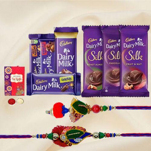 Assorted Cadbury With a Bhaiya Bhabhi Rakhi Set Gift for Brother