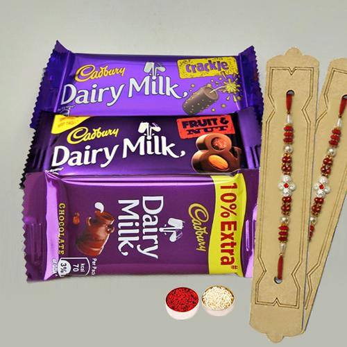 Assorted Cadbury Chocolate Pack with 2pcs Designer Rakhi