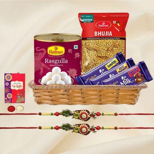 Classy Pair of Rakhi with Chocolates, Rasgulla n Bhujiya