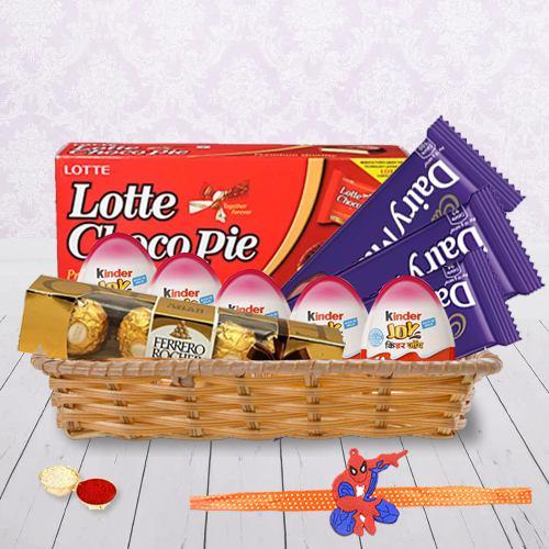 Trendy Kids Rakhi with Kinder Joy n Assorted Chocolates
