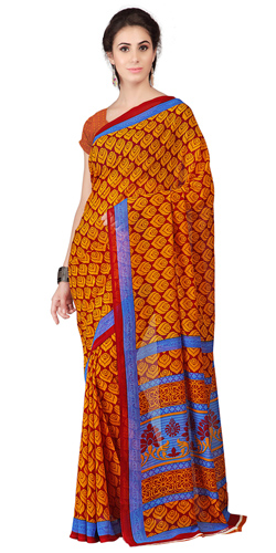 Seductive Weightless Georgette Floral Printed Saree in Orange
