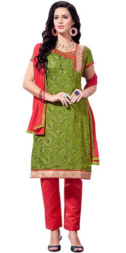 Sensational Chanderi Printed Salwar Suit