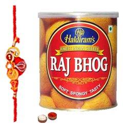 Delectable Raj Bhog from Haldiram with One Free Rakhi, Roli Tilak and Chawal for your Dear Brother on Raksha Bandhan