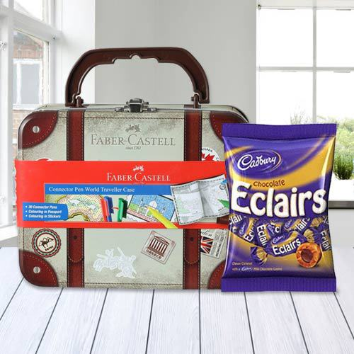 Chocolate with 33 pcs Faber Castell World Traveller Case of Stationery