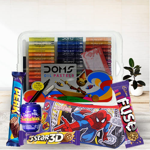 Wonderful Spiderman Kids Stationery, Colours n Chocolates Combo