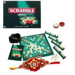 Admirable Rakhi Gift Set of Scrabble Word Game for Kids with Free Rakhi Roli Tilak and Chawal