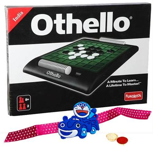 Amazing Funskool Othello Board Game with Doraemon Rakhi and Roli, Tilak and Chawal.