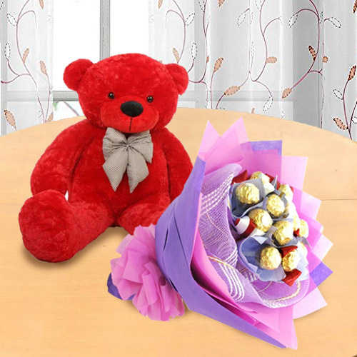 Marvelous Red Teddy with Ferrero Rocher Bouquet