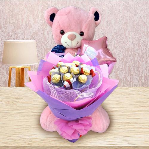 Remarkable Ferrero Rocher Bouquet, Teddy N Mylar Balloon