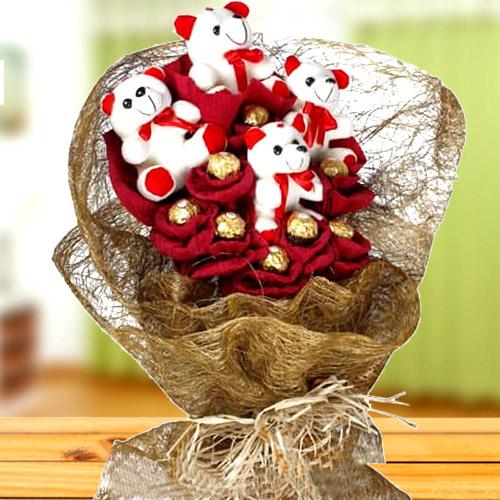 Remarkable Teddy N Ferrero Rocher Chocolate Bouquet
