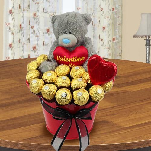 Marvelous Bucket of Ferrero Rocher Chocolate with Teddy