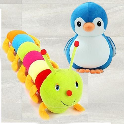 Amazing Duo of Penguin N Caterpillar Soft Toy