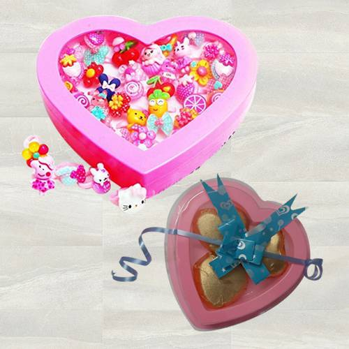 Exclusive Cartoon Finger Rings with 3 Pcs Heart Shaped Chocolates