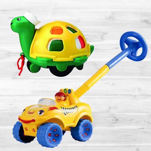 Marvelous Funskool Walk N Drive Truck N Twirlly Whirlly Turtle
