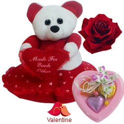 Delightful Teddy Bear with Heart with 3 pcs Heart Homemade Chocolate