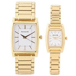 Outstanding Golden Titan Sonata Watches for Couples