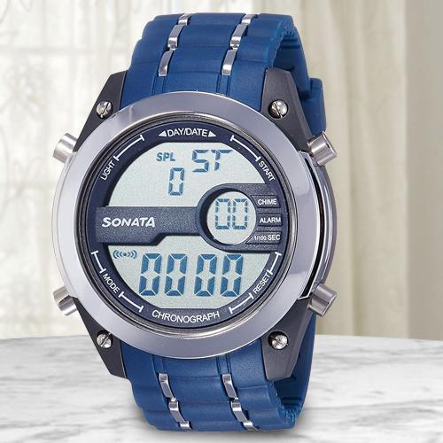 Exclusive Sonata Superfibre Digital Mens Watch