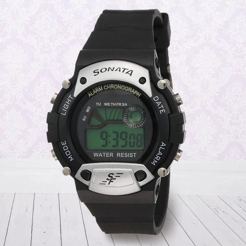 Exclusive Sonata Super Fibre Digital Mens Watch