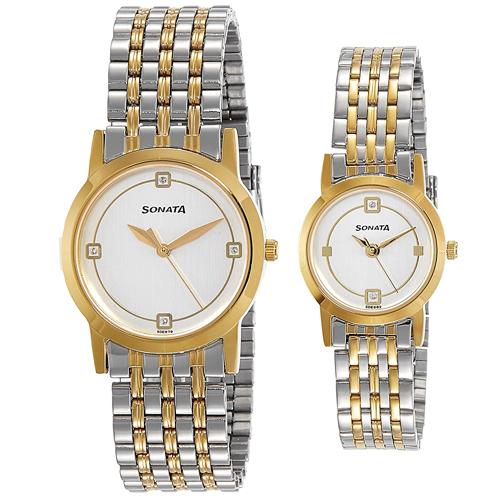 Striking Sonata Analog Multi-Color Dial Couple Watch