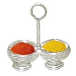 Silver Haldi and  Kumkum Stand